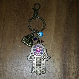 Accessories - Brass lucky hamsa hand buddha evil eye key chain